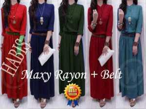 best seller - maxi rayon + belt - allsize fit L - bahan rayon - harga 85.000